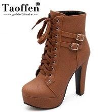TAOFFEN Plus Size 30 50 Ankle Boots Women Platform High Heels Shoes Shoes Woman Buckle Short Boot Casual Ladies Footwear