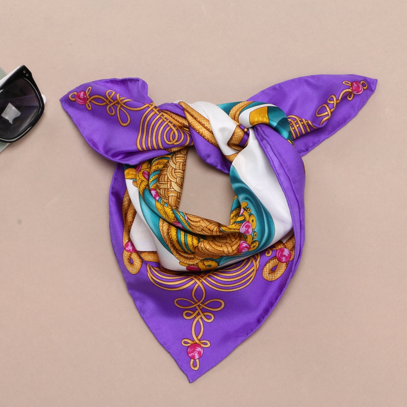 Women 100% Silk Bandana   Scarf   Neckerchief Small Square Silk Scarfs   Wraps   Headband Hearwear 53x53cm