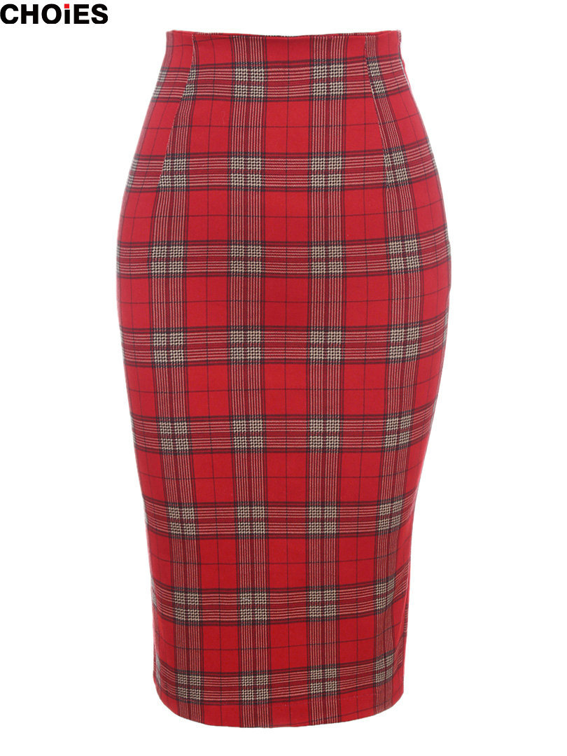 Aliexpress.com : Buy Women Classic Red Plaid High Waist Midi ...