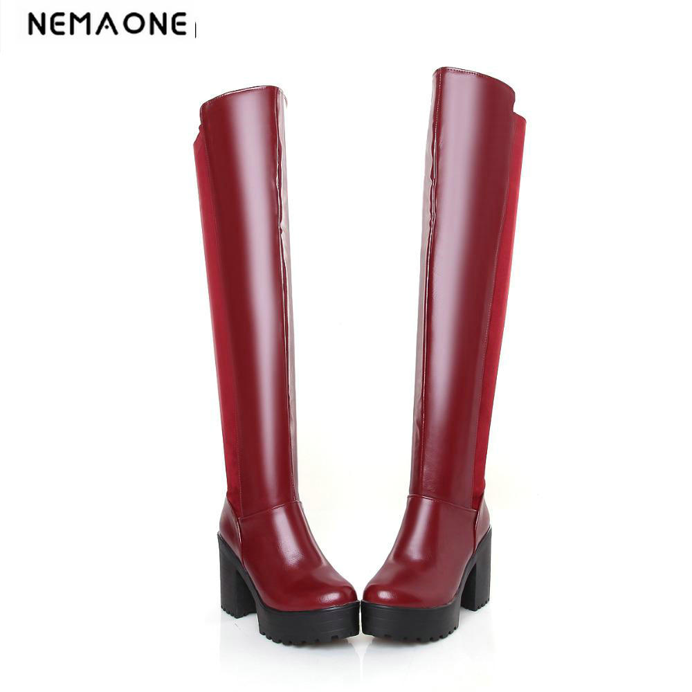 Fashion women over the Knee high Boots Sexy high heels platform women Boots elegant winter boots Shoes woman large size 34-46 enmayer sexy red shoes woman high heels bowties charms size 34 47 zippers round toe winter over the knee boots platform shoes page 1