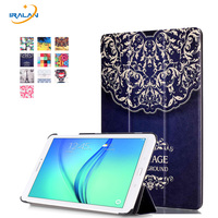 Hot PU Leather Flip Case For Samsung Galaxy Tab E T561 SM T561 Painted Cover Case