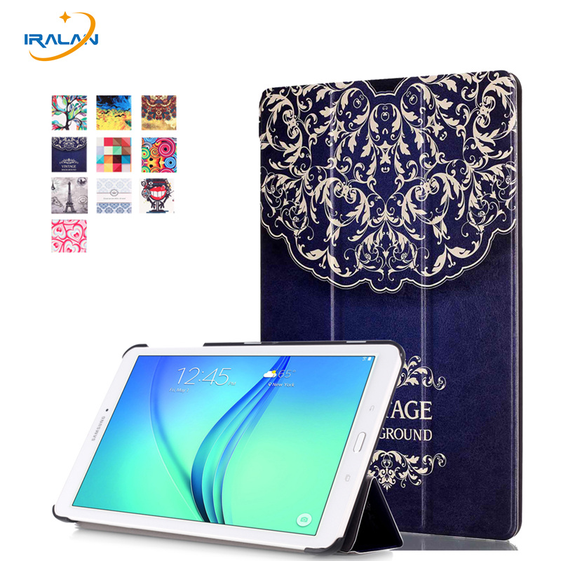 Hot Leather Flip Case For Samsung Galaxy Tab E 9. 6 T560 T561 Painted Cover Case Ultra Slim Stand Smart Case+stylus+screen film 360 rotating flip leather stand cover tablet case for samsung galaxy tab e 9 6 t560 t561 with tpu x line case screen film stylus