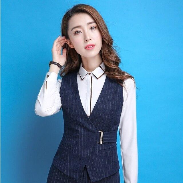 975224b4cc Moda Listrado Fino Casaco Colete Profissional Uniformes Estilos Blazers  Jaquetas Colete Para Senhoras Tops Outwear Plus