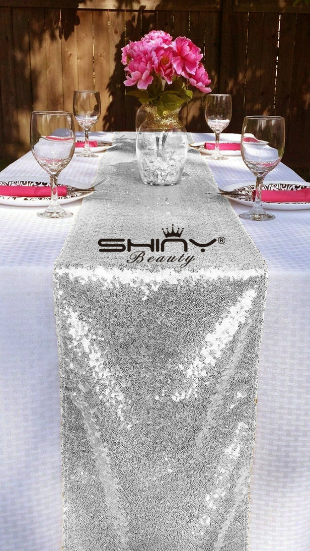 ShinyBeauty 12x72 Inch Rectangle Silver Sequin Table Runner For Wedding Party Decor 12x72 Inch am