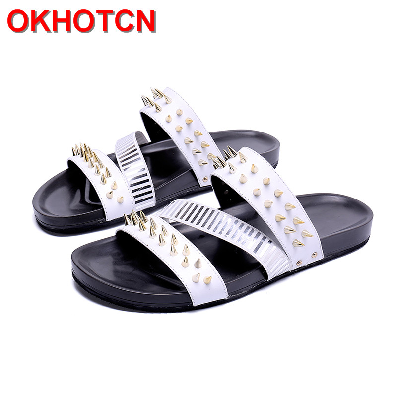 Summer Slippers Men Big Size Genuine Leather Slippers Outside Rivets Straps Casual Beach Shoes New Black