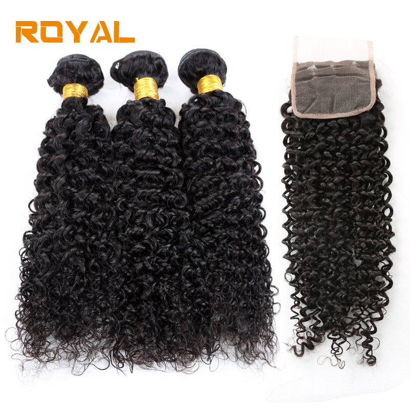 Brazilian Lace Closure With Bundles Kinky Curly Wave Human Hair 3 Bundles With Closure Non-Remy Royal Hair Extensions