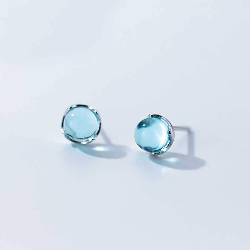 MloveAcc Real 100% 925 Sterling Silver Stud Earrings for Women Fashion Blue Crystal Bubble Ear Stud