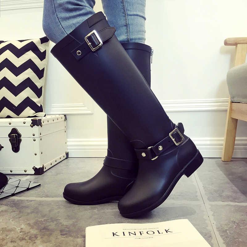 f2a5e11da ... Резиновые сапоги для дождливой погоды, женские сапоги В рыцарском  стиле, черные ботинки, красные ...