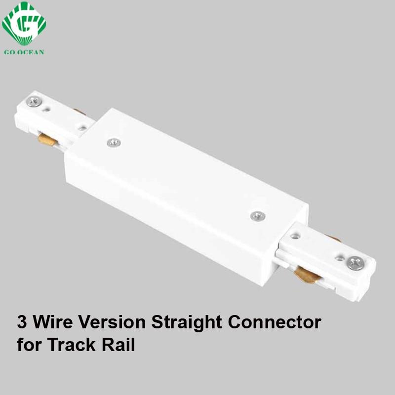 GO OCEAN Track Lighting LED Track Rail Connector Straight Connectors 3 Wire Rail Connector Rail Joiner