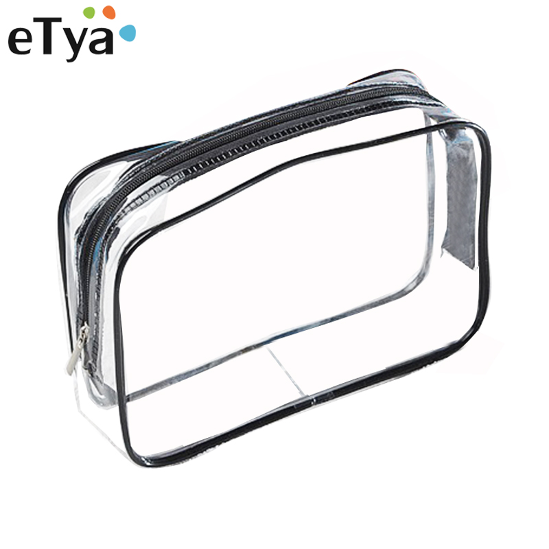 ETya Environmental Protection PVC Transparent Cosmetic Bag Women Travel Waterproof Wash Toiletry Bags Makeup Organizer Case