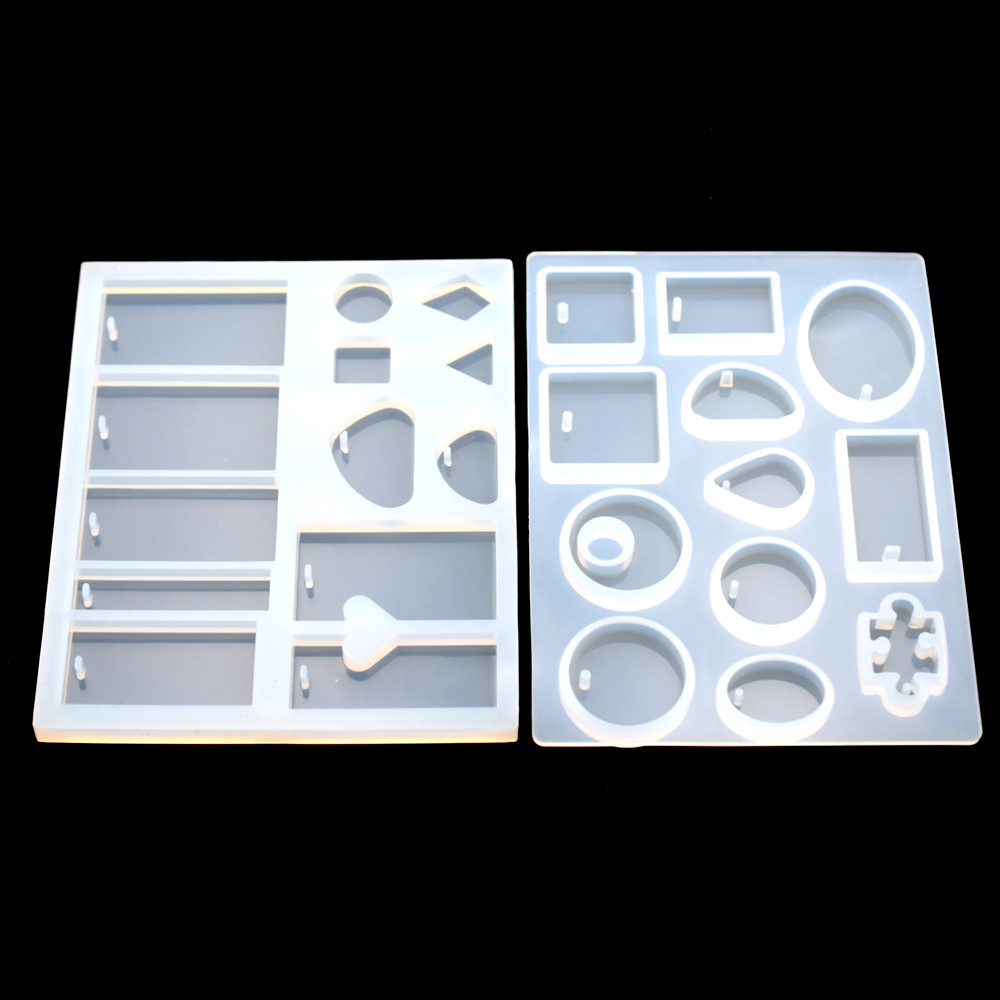 Silicone Pendant Mold Resin Silicone Moulds Handmade DIY Jewelry Making Epoxy Resin Molds Square Round  Rectangle With Hole