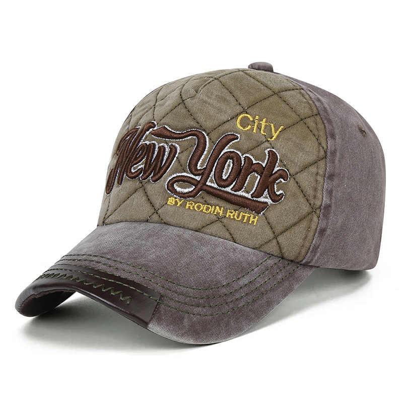 % 100% Pamuk Yıkanmış beyzbol şapkası Erkekler NY Denim Snapback Baba Şapka Kadın Rahat Kemik Casquette Nakış Mektubu New York hip hop şapka