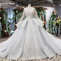 HTL531 luxury bridal gown with train o neck long sleeves lace up back ruffle indian wedding dress robe de mariee grand taille
