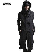 NEW Fashion Men Hoodies Coat Rope buckle cardigan Sweatshirt Male Casual Thicken Long Hooded Jackets Street Punk Outwear K279