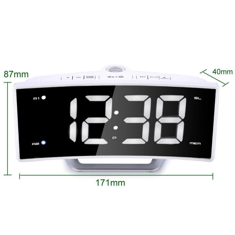 Image 4 - FM Radio Alarm Clock LED Digital Electronic Table Projector Watch Desk Nixie Projection Clock With Time Projection-in Alarm Clocks from Home & Garden