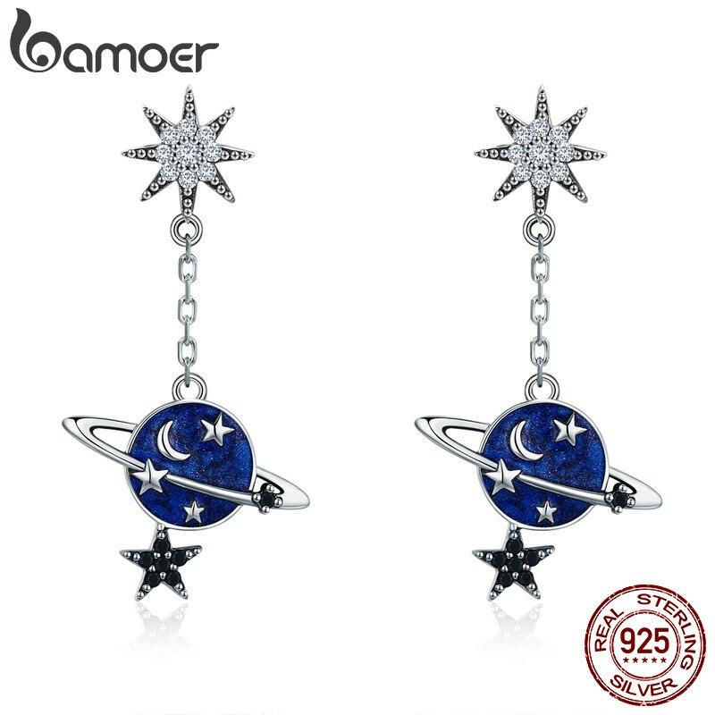 BAMOER 100% de alta calidad de la plata esterlina 925 espumoso CZ luna y estrella caída pendientes para las mujeres de la joyería de la plata esterlina SCE348