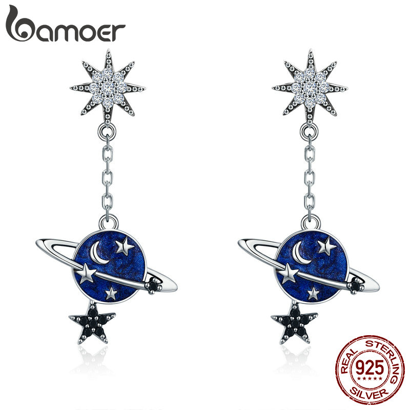 BAMOER High Quality 100% 925 Sterling Silver Sparkling CZ Moon And Star Drop Earrings For Women Sterling Silver Jewelry SCE348