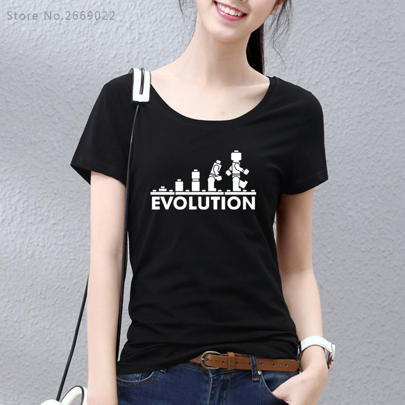2017 LEGO Robotic EVOLUTIONSS T Shirt Humorous Printed Sheldon Cooper T Shirts Girls Quick Sleeve O-Neck Cotton Lady Clothes Girl girls quick sleeve, t shirt girls, humorous print,Low cost...