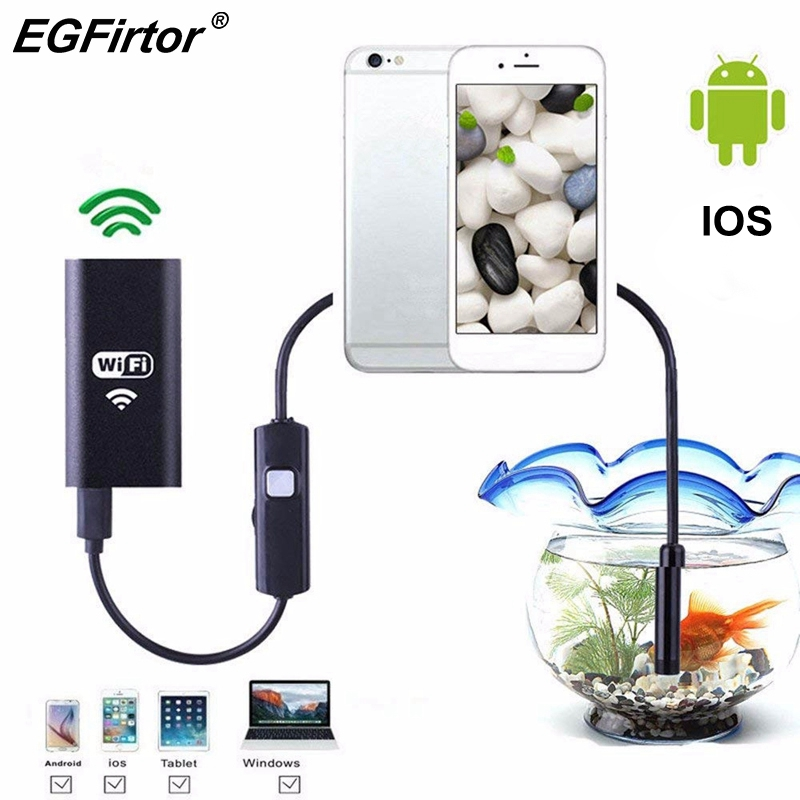 WIFI Endoscope Camera Android Endoscope Camera Mini Flexible Snake Soft Cable Inspection IP Camera 8mm USB Rechargable IOS Phone image