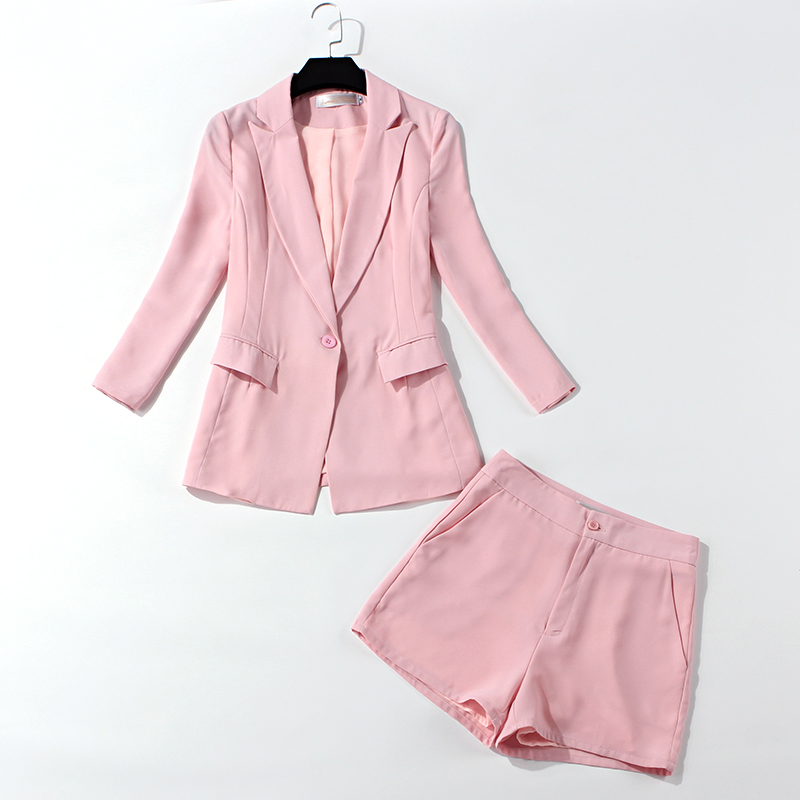 Office Suits For Women 2019 Spring And Autumn New Pink Blazer Casual Shorts Two-piece Temperament High Quality Women's Suit