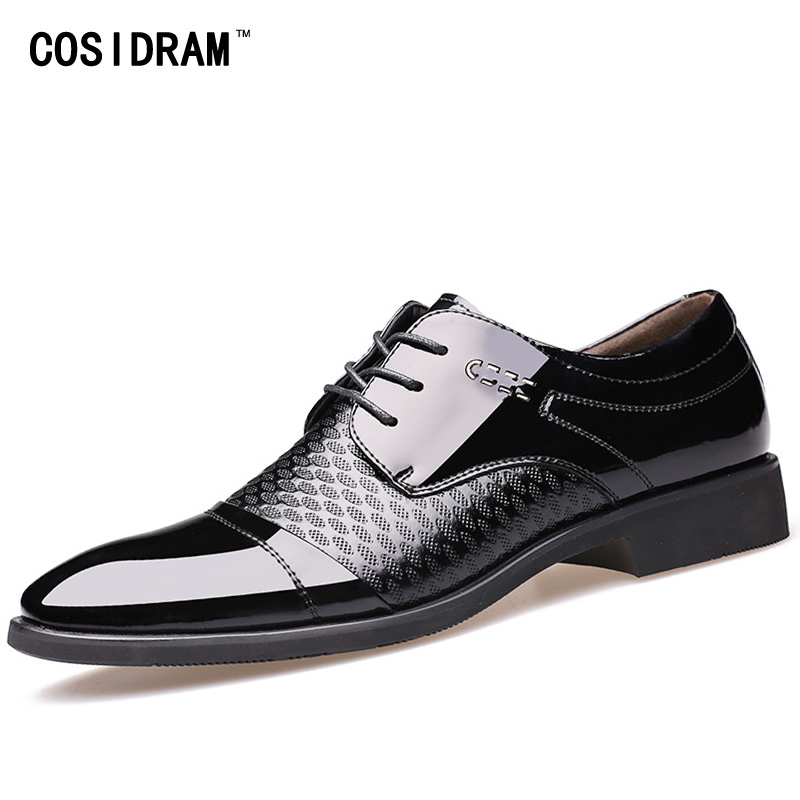 COSIDRAM 2018 Spring Business Wedding Shoes Pointed Toe Men Dress Shoes PU Leather Oxfords Formal Shoes For Male Luxury RME-348