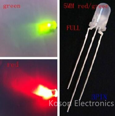 10pcs LED 5mm Round Diffused Red & Green Two Color Common Anode LED Diode Light Emitting Diode