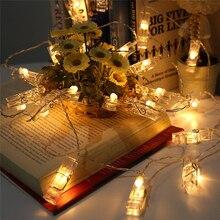 10 компл. 1.5 м LED DIY Гирлянда Карта Фотографии Клип Струнная лампа Работает от Батареи Fairy