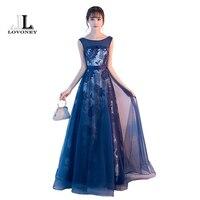 LOVONEY Vintage Long Evening Dresses 2017 A Line Royal Blue Formal Evening Gowns Party Dresses Lace