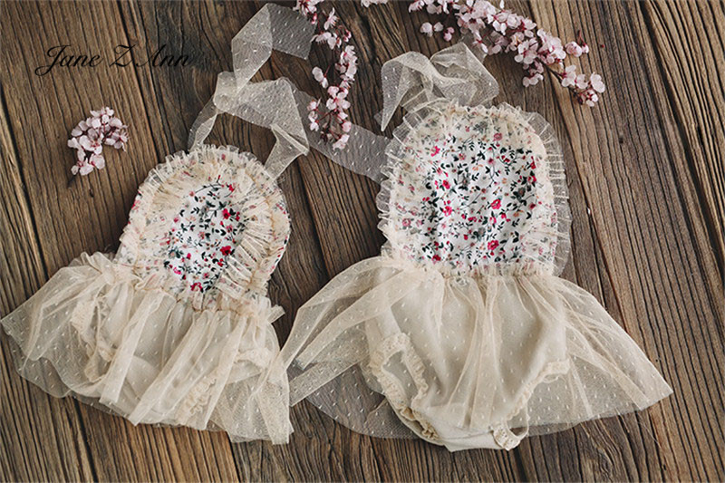 Jane Z Ann Little flower net small dress backless newborn/6 month size baby infant girls studio shooting outfits