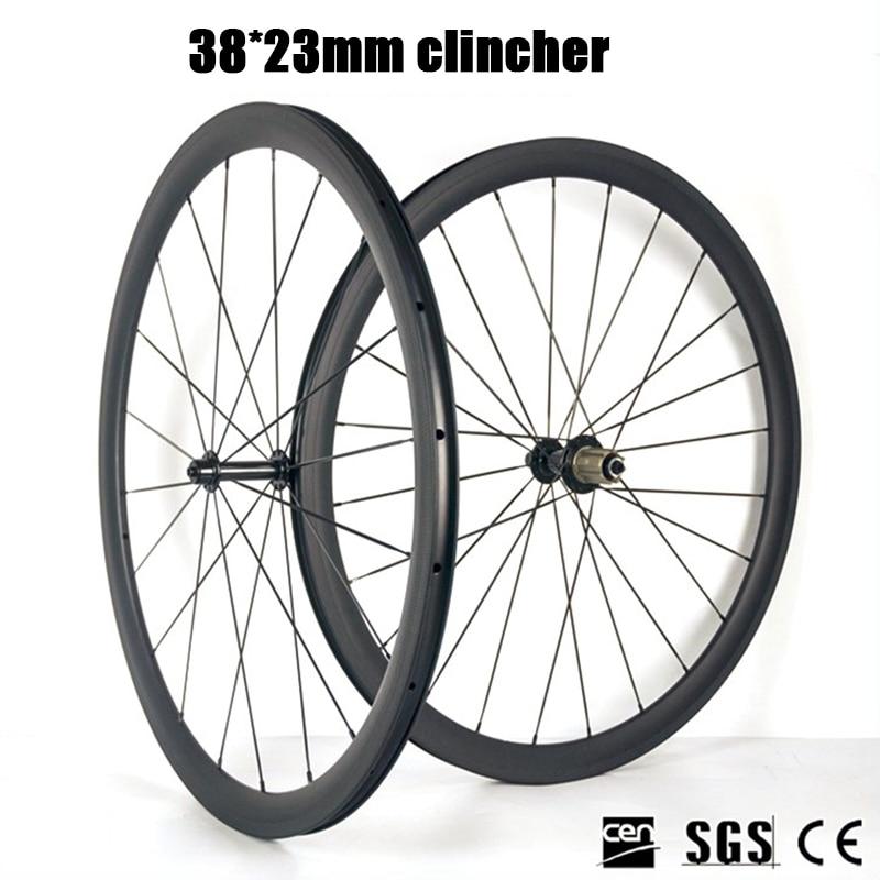 Lightweight 38mm Depth Clincher Bicycle Wheels R13 Hub Carbon Road Bike Wheelset