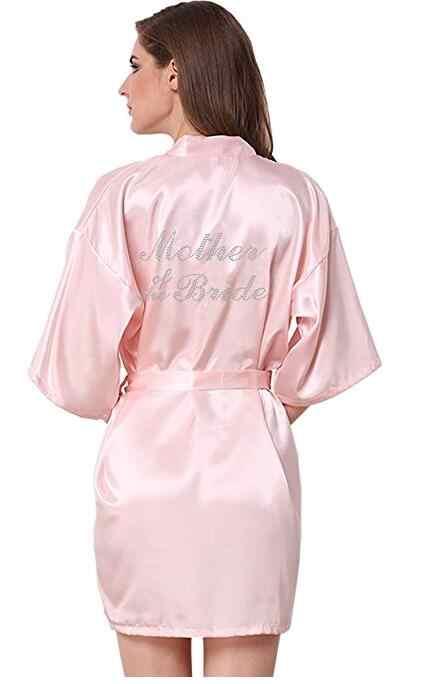 גלימות RB89 ריינסטון מכתב הכלה השושבינות גלימות הלבשת Nightwear חלוק לילה חתונה עוזרת של כבוד שמלה גאו