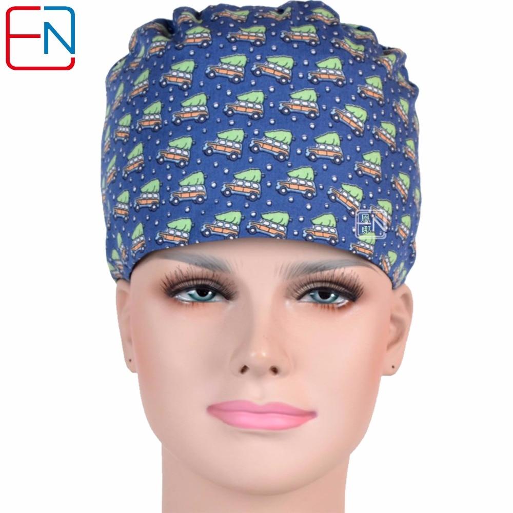 Hennar Medical Scrub Caps Elastic With Sweatband 100% Cotton Sugical Medical Caps Masks Hair Accessories Nurse Doctor Cap Unisex