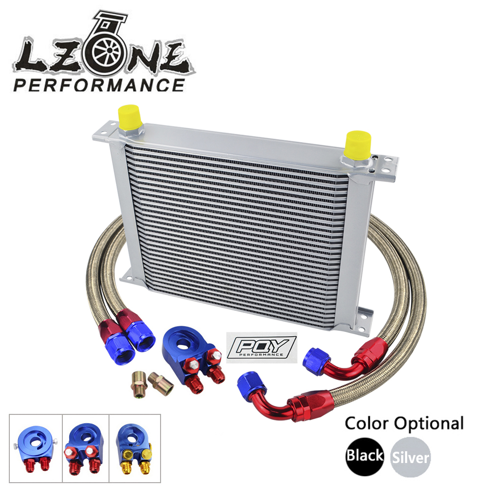 LZONE - AN10 OIL COOLER KIT 30 ROWS OIL COOLER + OIL FILTER ADAPTER + NYLON STAINLESS STEEL BRAIDED HOSE WITH PQY STICKER+BOX vr universal 13 rows trust type oil cooler an10 oil sandwich plate adapter with thermostat 2pcs nylon braided hose line