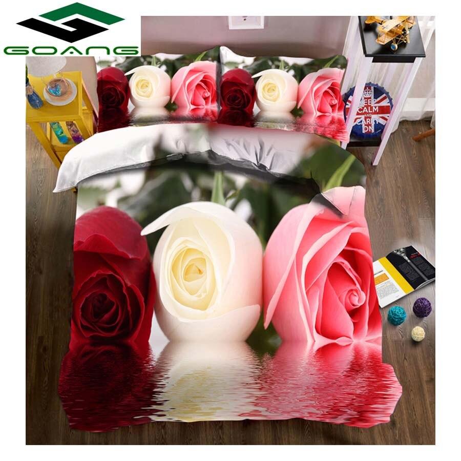 100% QualitäT Goang Königin Bettwäsche Set Bettdecke Abdeckung Bettlaken Kissen Fall 3d Digitaldruck Wasser Rose Anlage Floral Home Textile Decor Geschenk Waren Des TäGlichen Bedarfs