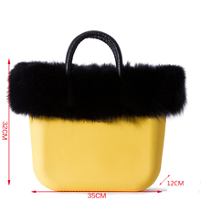 Classic Big Size  Women's Bags Plush Decoretion Handbag  with Real Fox Fur Plush Accessories for Obag O Bag Style
