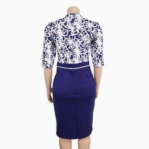 Image 4 - בגדים אפריקאים אלגנטי Bodycon שמלת נשים משרד ליידי 2019 מודפס טלאים חצי שרוול גבוה מותן תחבושת עיפרון שמלת חלוק