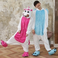 Adult Unisex Pajamas For Lovers With Shoes Cute Unicorn Onesies Flannel Cosplay Costume Sleepwear Pijama De