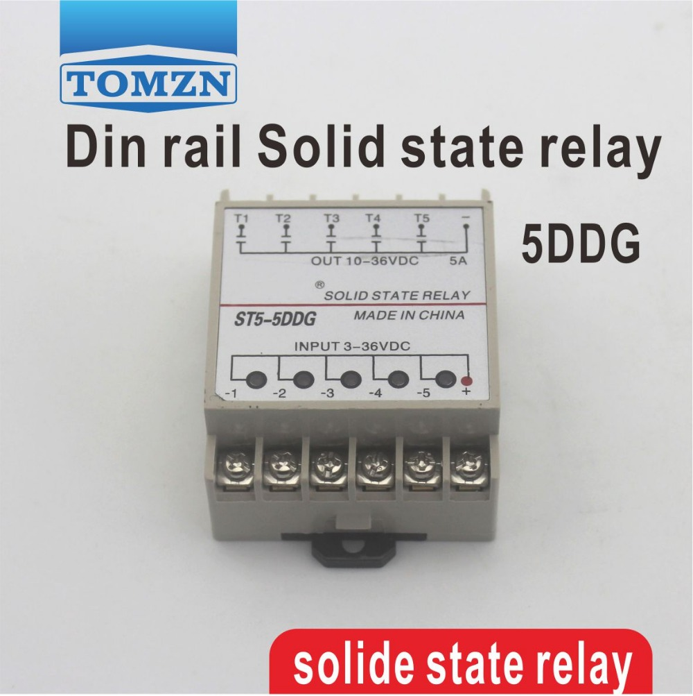 5DDG 5 Channel Din rail SSR quintuplicate five input 3~32VDC output 5~36VDC single phase DC solid state relay normally open single phase solid state relay ssr mgr 1 d48120 120a control dc ac 24 480v