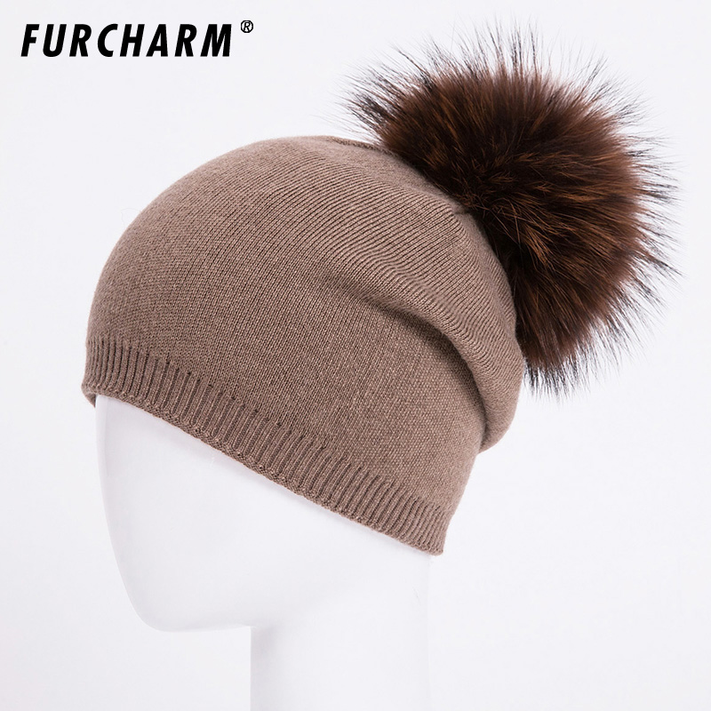 Autumn Winter Knitted Wool Hats For Women Fashion Pompon Beanies Fur Hat Female Warm Caps With Natural Genuine Raccoon Fur Cap autumn winter beanie fur hat knitted wool cap with raccoon fur pompom skullies caps ladies knit winter hats for women beanies