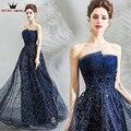 A-line Strapless Sequin Tulle Dark Blue Luxury Long Formal  font  b b332e784d895