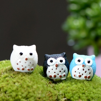 5PCS Small 5-colored Owl Mossy Micro Landscape Decoration Cute Owl Fairy Miniatures Mini Diy Doll House Micro Landscape image