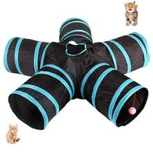Cat Tunnel 5-Way Collapsible Extensible Tube Crinkle Pop Up Tunnel, Toy Maze House with Pompon and Bells for Pup