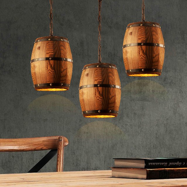 Vintage Wooden Barrel Pendant Light