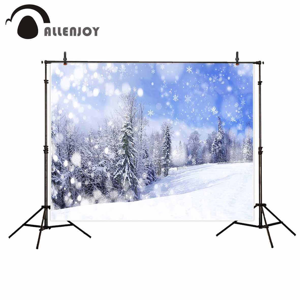 Фон для фотосъемки Allenjoy, зимний фон для фотосъемки с лесом, снежиной, деревом, деревом, небесным фоном, оригинальный дизайн, портретная съемк...