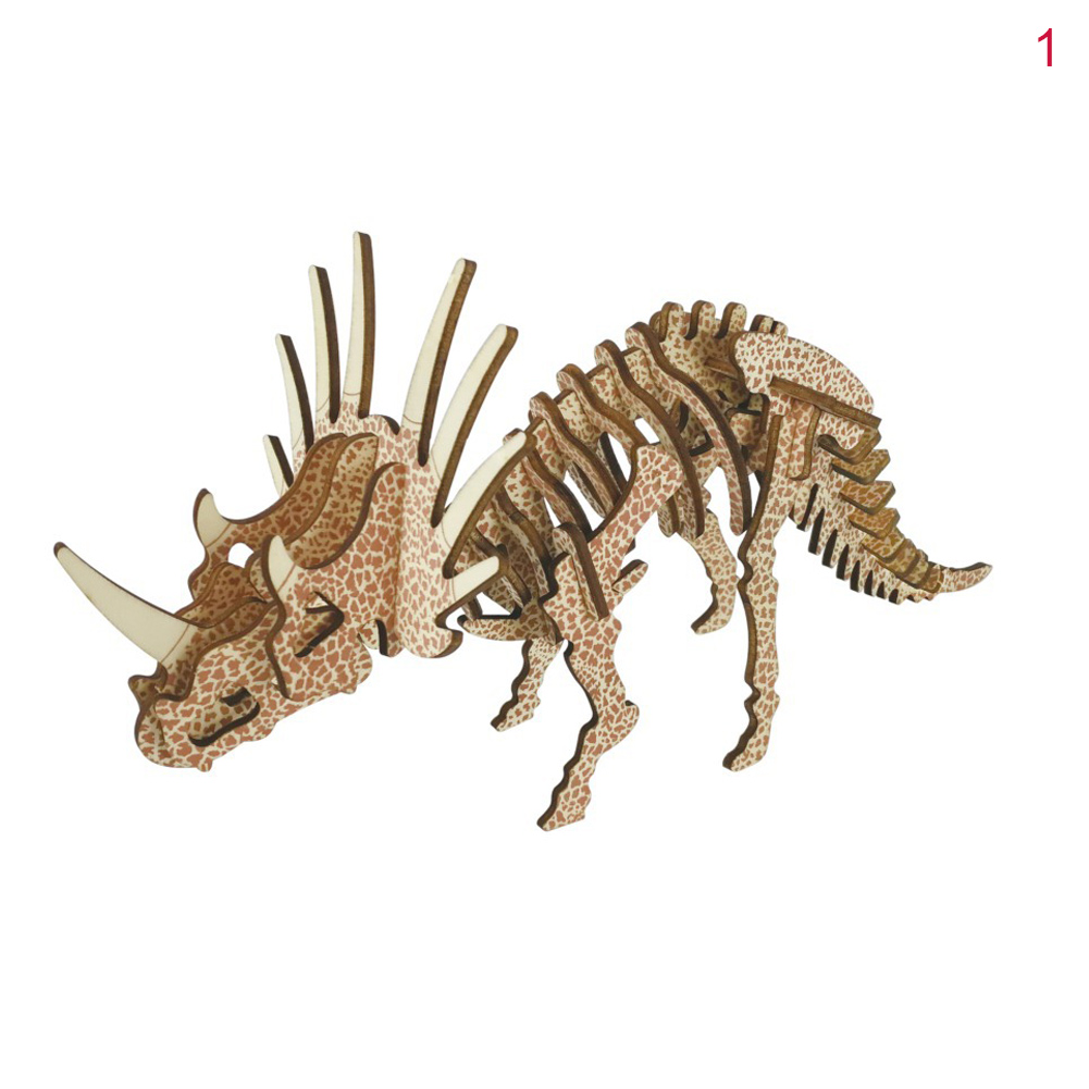 3D DIY Assembly Dinosaur Model Wooden Craft Kit Jigsaw Puzzle Toy For Kids Gifts M09
