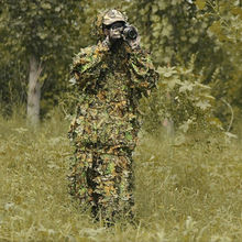 Hunting clothes 3D maple leaf Bionic Ghillie Suits Yowie sniper hunting accessories Camouflage Clothing with jacket and pants