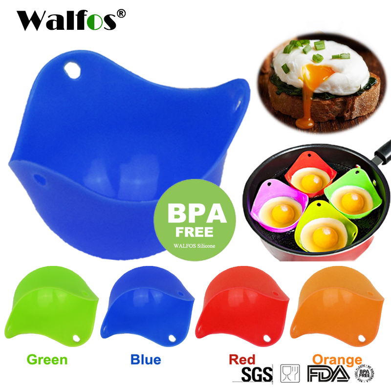 WALFOS FOOD GRADE Flexibe Silicone Egg Poacher Cook Poach Pods Kitchen Tool Baking Poached Cup egg