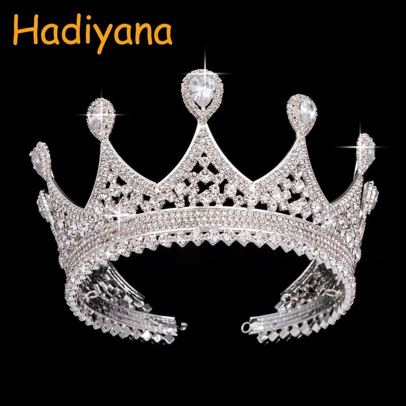 Bridal Crown Hadiyana For Women Fashion Wedding Queen Cubic Zinconia Waterdrop Crowns Headpiece Design BC3222 corona princesa