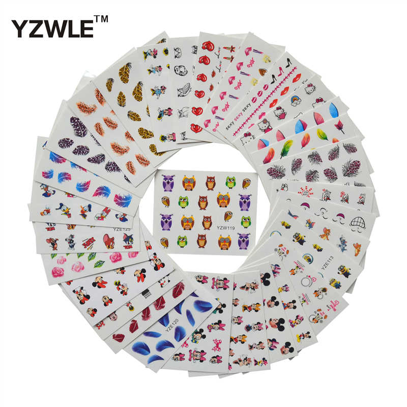 ZKO 30 Sheets Owl Feather Flowers etc Designs DIY Decals Nails Art Water Transfer Printing Stickers For Nails Salon