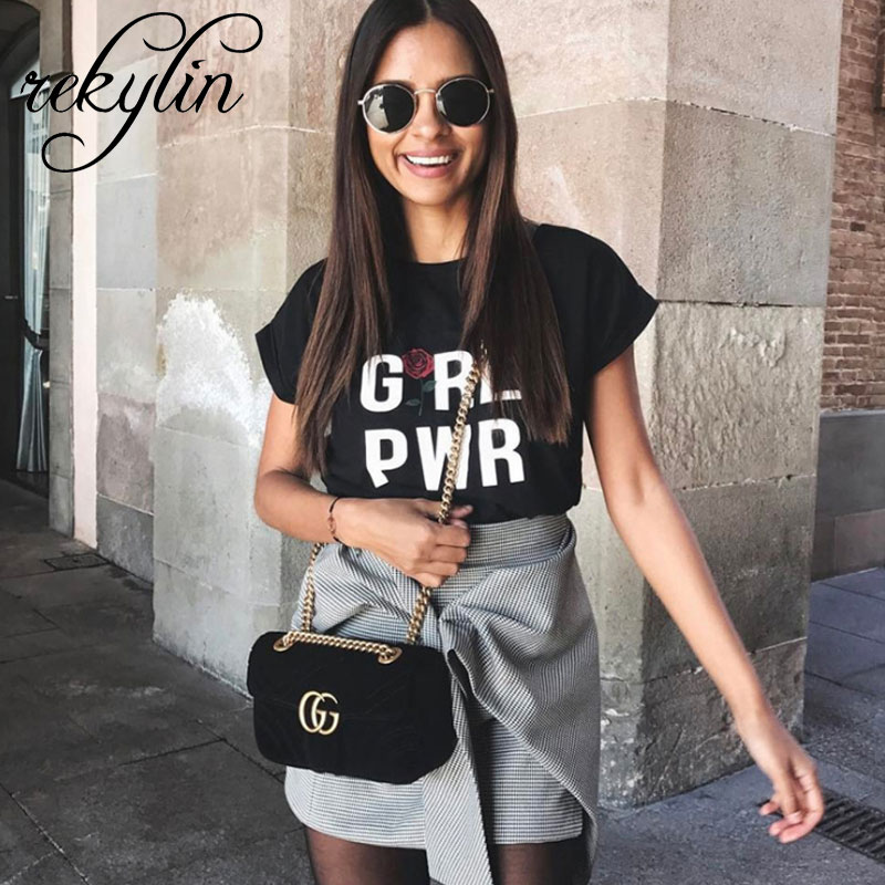 2019 Summer Women T Shirt Girl power Letter Print Tv T shirt Casual Short Sleeve Tops
